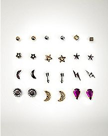 Multi-Pack Celestial Stud Earrings - 12 Pair