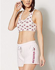 Cheshire Cat Sports Bra and Shorts Set - Alice in Wonderland