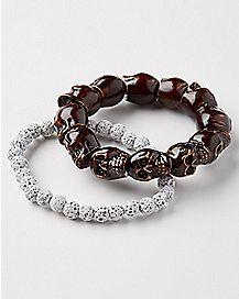 Stone and Skull Bracelets - 2 Pack