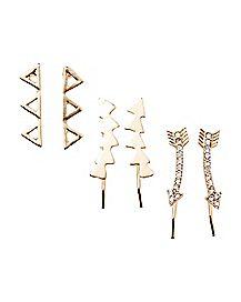 Cz Arrow Triangle Earrings - 3 Pair