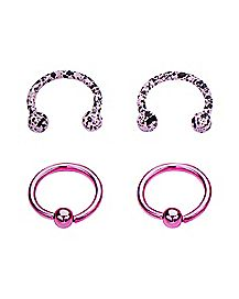 Pink Splatter Horseshoe and Captive Rings 2 Pair - 16 Gauge