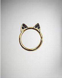 Black CZ Cat Ears Cartilage Earring - 18 Gauge