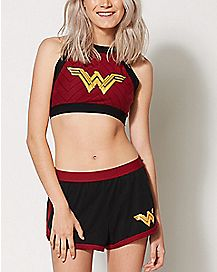 Wonder Woman Halter Bra and Shorts Set - DC Comics