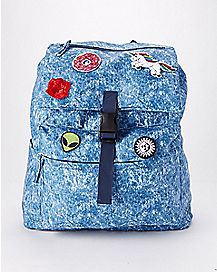 Denim Patched Backpack