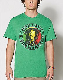 Green One Love Bob Marley T Shirt