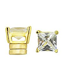 Square CZ Magnetic Earrings