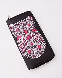 Embossed Pink Owl Zip Wallet