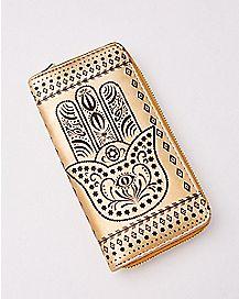 Hamsa Hand Zip Wallet