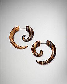 Wood Print Faux Spiral Hook Earrings - 18 Gauge