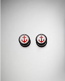 Red Anchor Faux Plug Earrings - 18 Gauge