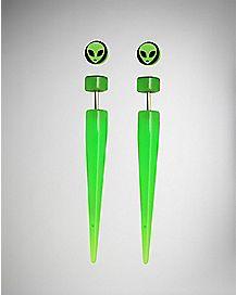 Green Alien Faux Taper Earrings - 18 Gauge