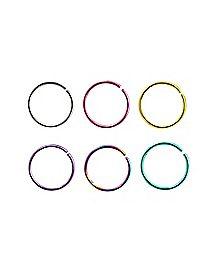 Rainbow Hoop Nose Rings 6 Pack - 20 Gauge