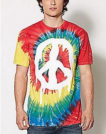 Melting Peace Sign Tie Dye T Shirt