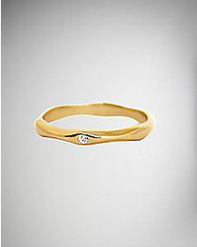 Gold-Plated CZ Gem Ring - Size 6