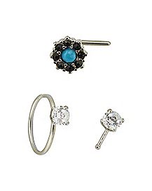 Turquoise-Effect Cz Nose Rings 3 Pack - 20 Gauge