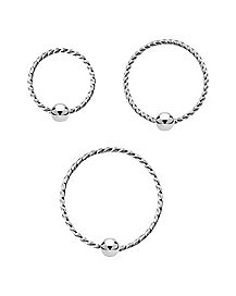 Twisted Seamless Nose Rings 3 Pack - 20 Gauge