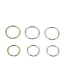 Seamless Nose Rings 6 Pack - 18 Gauge