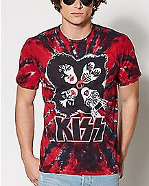 Faces Tie Dye Kiss T Shirt