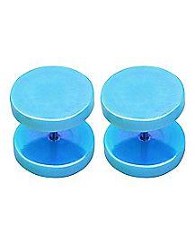 Blue Iridescent Faux Plugs