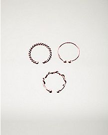 Rose Goldplated Fake Septum Rings - 3 Pack