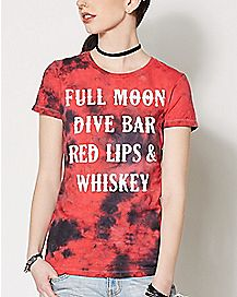 Full Moon Dive Bar Red Lips T Shirt