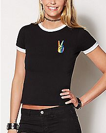 Rainbow Peace Sign T Shirt