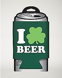 I Love Beer Shamrock Can Cooler