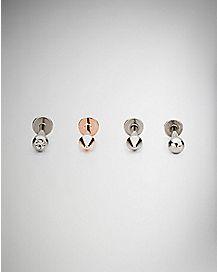 Multi-Pack Labret Rings 4 Pack - 16 Gauge