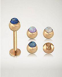 Rose Gold-Plated Opal-Effect Labret Ring - 16 Gauge