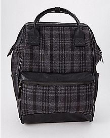 Hinged Plaid Backpack