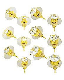Gold-Plated Round CZ Stud Earrings - 6 Pair