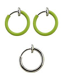 Glow In The Dark Faux Captive Rings - 3 Pack