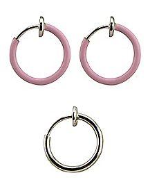 Pink Glow In The Dark Fake Captive Rings - 3 Pack