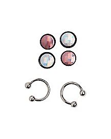 Hologram Stud Earrings and Horseshoe Rings - 3 Pair