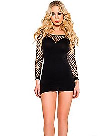 Long Sleeve Mesh Mini Dress