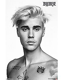 Black and White Justin Bieber Poster
