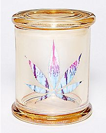 Iridescent Gold Pot Leaf Storage Jar - 14 oz.