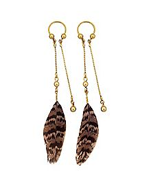 Gold-Plated Feather Dangle Horeshoe Rings 1 Pair - 16 Gauge
