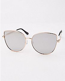 Mirror Lense Cat Eye Sunglasses