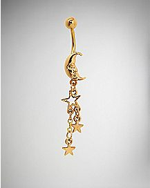 Gold-Plated Moon and Stars Dangle Belly Ring - 14 Gauge