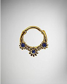 Gold-Plated Cz Hinged Septum Ring - 16 Gauge