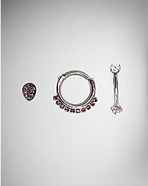 Multi-Pack Cz Cartilage Earring 3 Pack - 16 Gauge