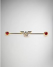CZ Wonder Woman Industrial Barbell 14 Gauge - DC Comics