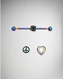 Rainbow Industrial Barbell with Interchangeable Charms - 14 Gauge
