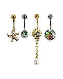 Under the Sea Belly Ring 4 Pack - 14 Gauge