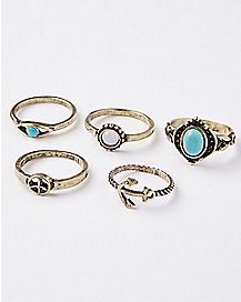 Turquoise-Effect Rings Size 7 - 5 Pack