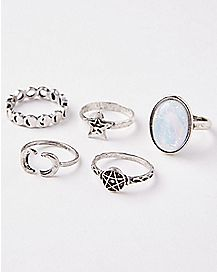 Opal-Effect Moon Star Rings Size 7 - 5 Pack