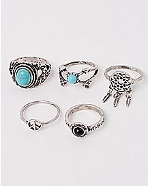 Turquoise-Effect Rings 5 Pack - Size 7