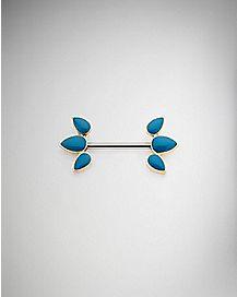Turquoise-Effect Leaf Nipple Barbell - 14 Gauge
