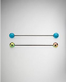 Turquoise-Effect and Rainbow Industrial Barbells 2 Pack - 14 Gauge